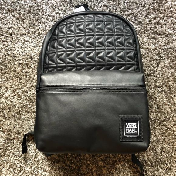 Vans X Karl Lagerfeld Leather Backpack   Karl Lagerfeld